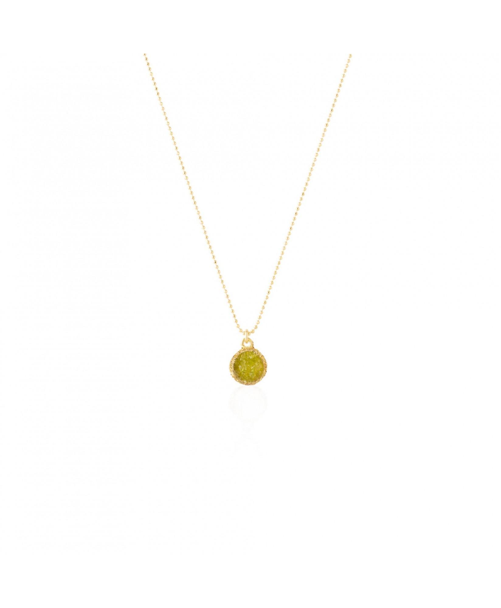 Gargantilla oro Olivine con colgante verde de olivina