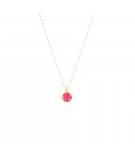 Gargantilla oro con colgante redondo Doll con nácar rosa