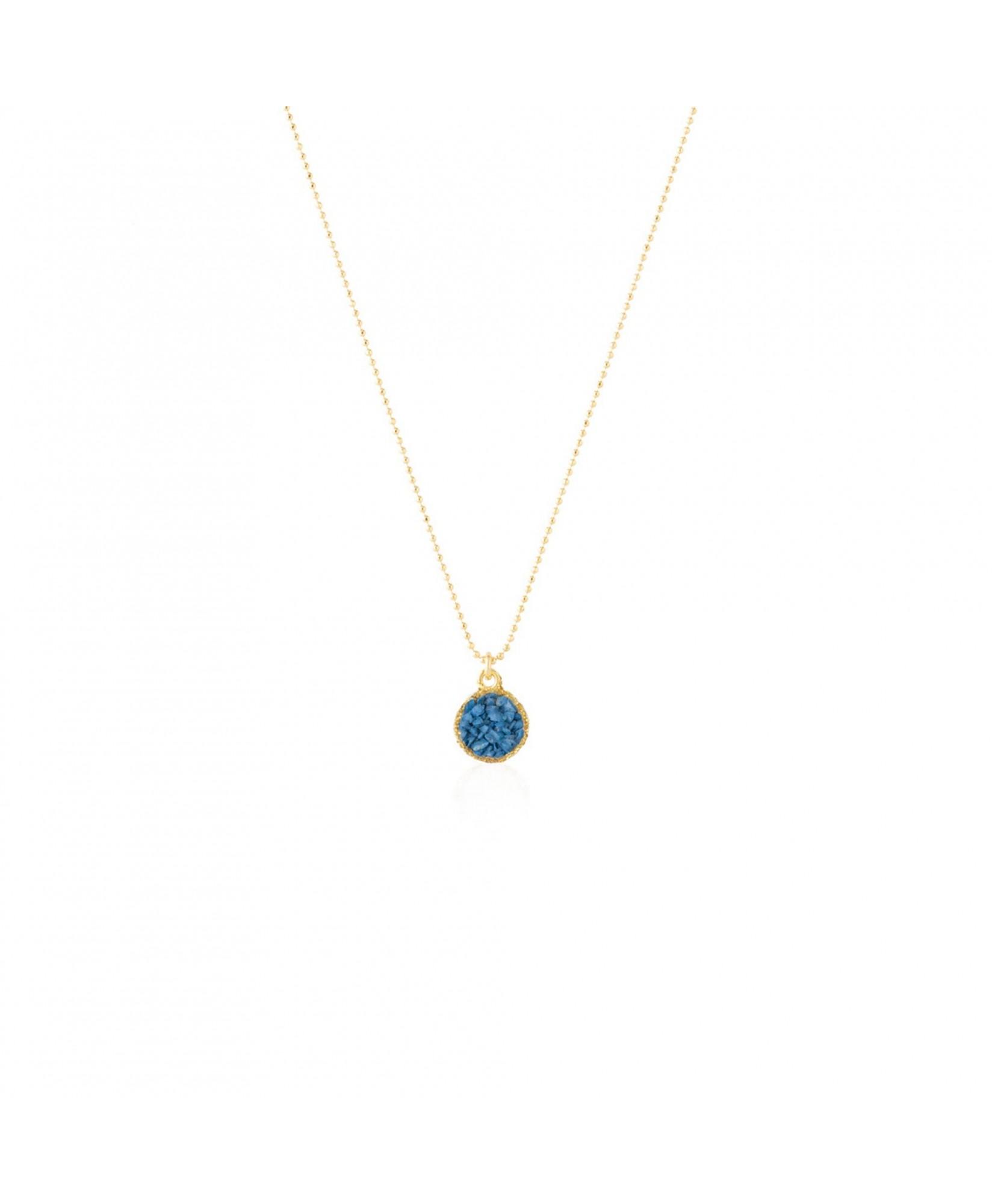 Gargantilla oro colgante redondo Sky con nácar azul ducado