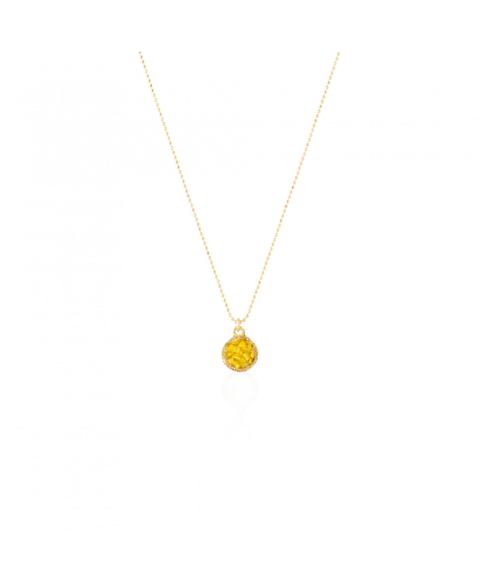 Gargantilla oro con colgante redondo Sun con nácar amarillo Gargantilla oro con colgante redondo Sun con nácar amarillo
