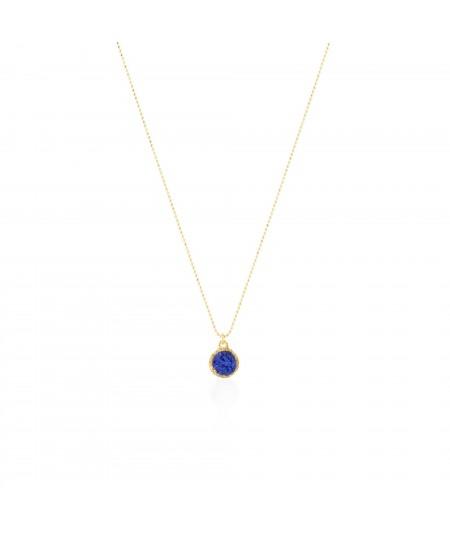 Gargantilla oro con colgante redondo Klein con nácar azul