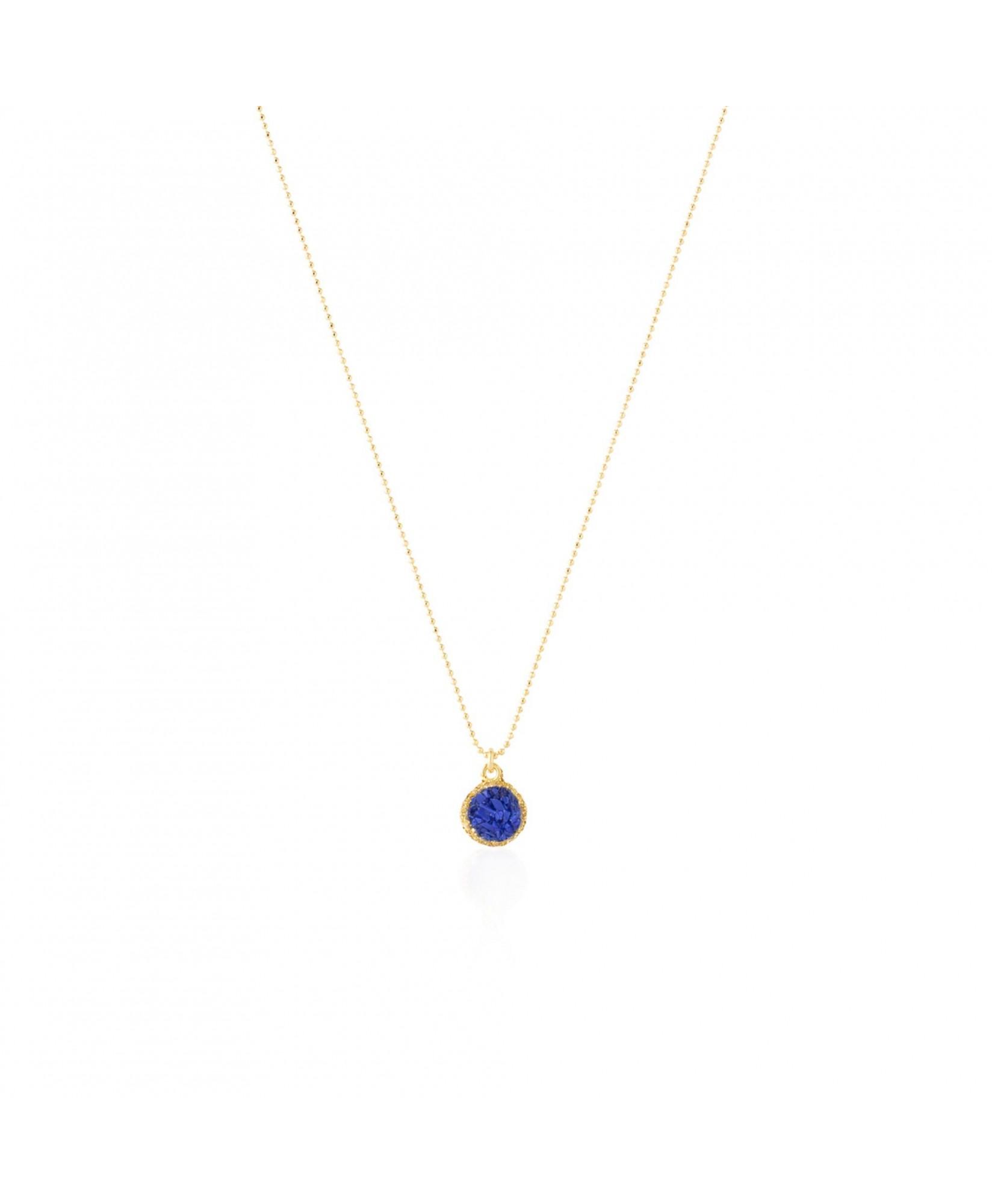 Gargantilla oro con colgante redondo Klein con nácar azul Gargantilla oro con colgante redondo Klein con nácar azul