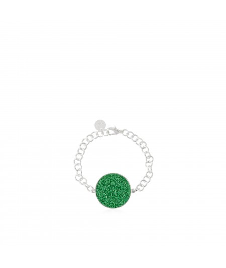 Pulsera en plata Demeter con nácar verde