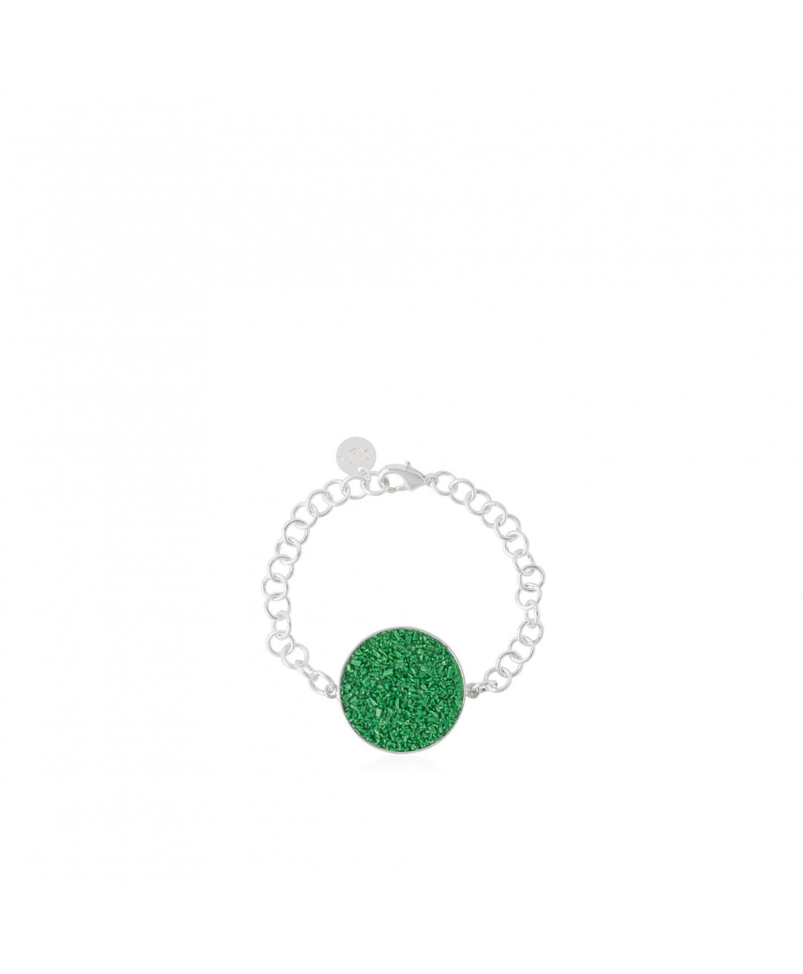 Pulsera en plata Demeter con nácar verde Pulsera en plata Demeter con nácar verde