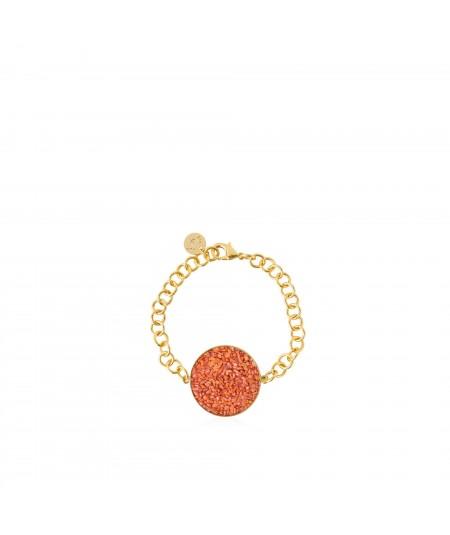 Pulsera oro Isis con nácar color coral