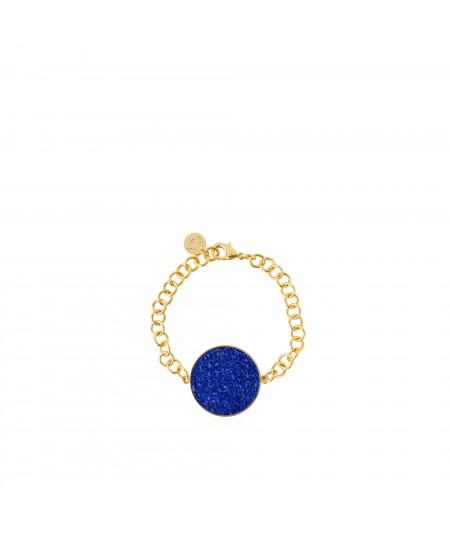 Pulsera oro Selene con nácar azul