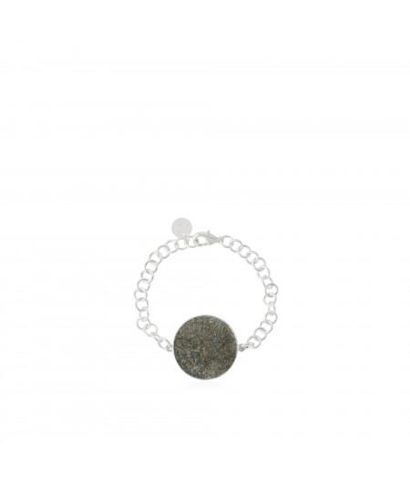 Pulsera plata Medusa con nácar gris