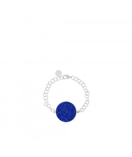 Pulsera de plata Selene con nácar azul