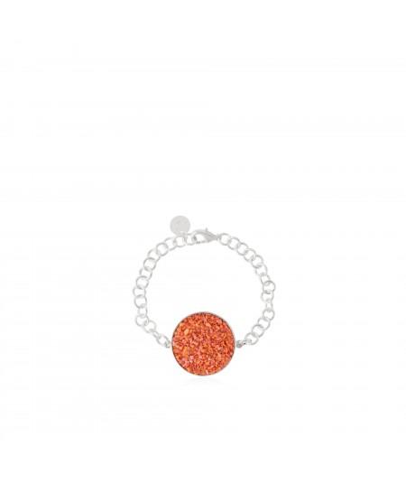 Pulsera en plata Isis con nácar color coral