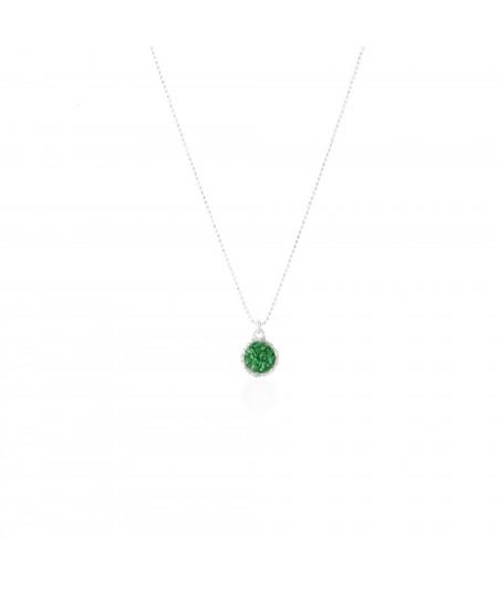 Gargantilla plata con colgante redondo Grass con nácar verde