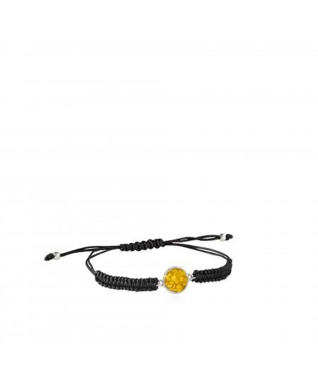 Pulsera de cordón y plata Sun con nácar amarillo