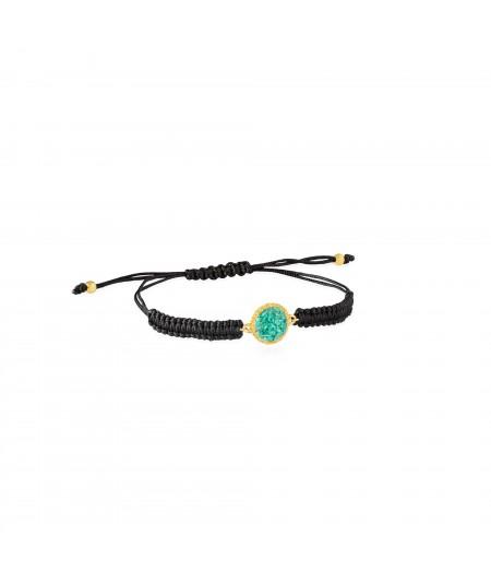 Pulsera con turquesa Travel oro y cordón