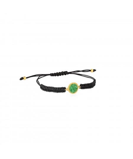 Pulsera oro y cordón Grass con nácar verde