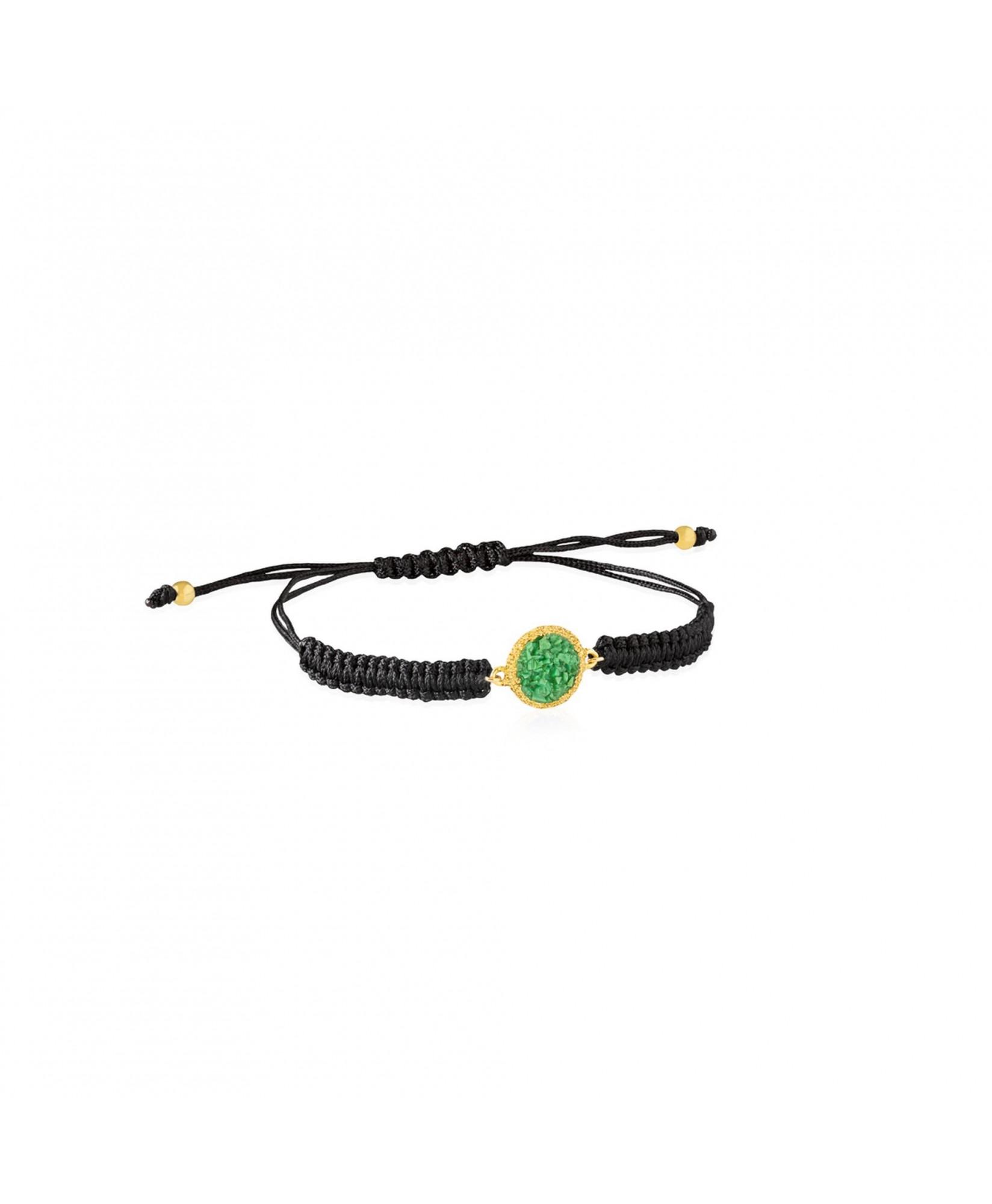 Pulsera oro y cordón Grass con nácar verde Pulsera oro y cordón Grass con nácar verde