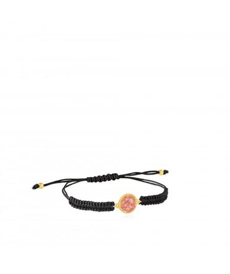 Pulsera de cordón y oro Soft con nácar rosa