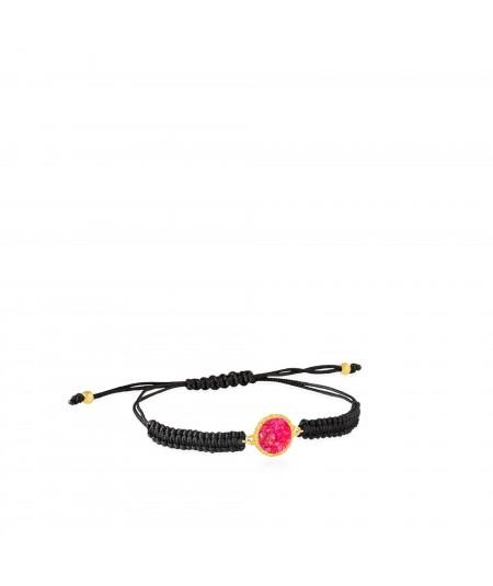 Pulsera de cordón y oro Doll con nácar rosa