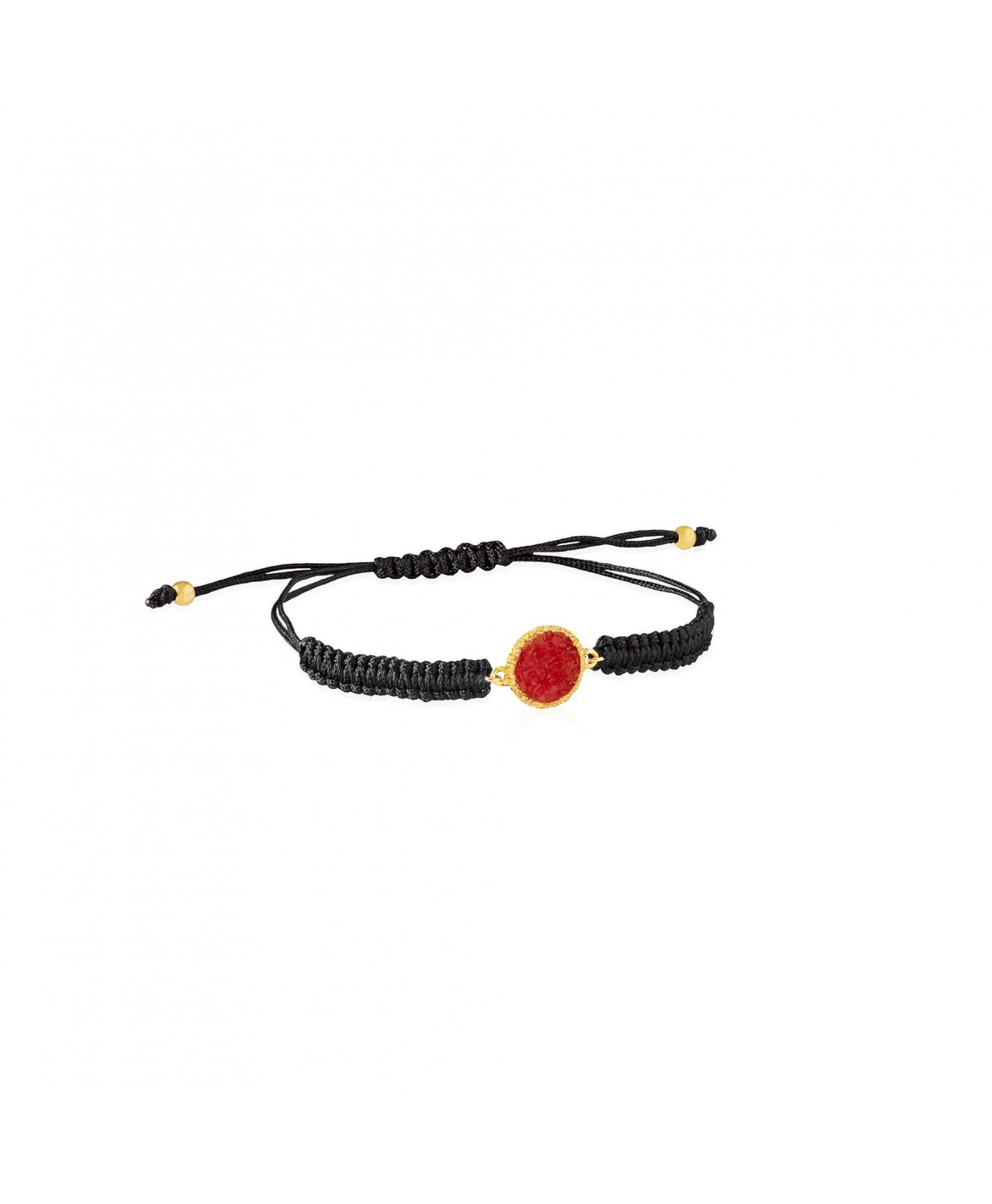 Pulsera de cordón y oro Love con nácar rojo Pulsera de cordón y oro Love con nácar rojo