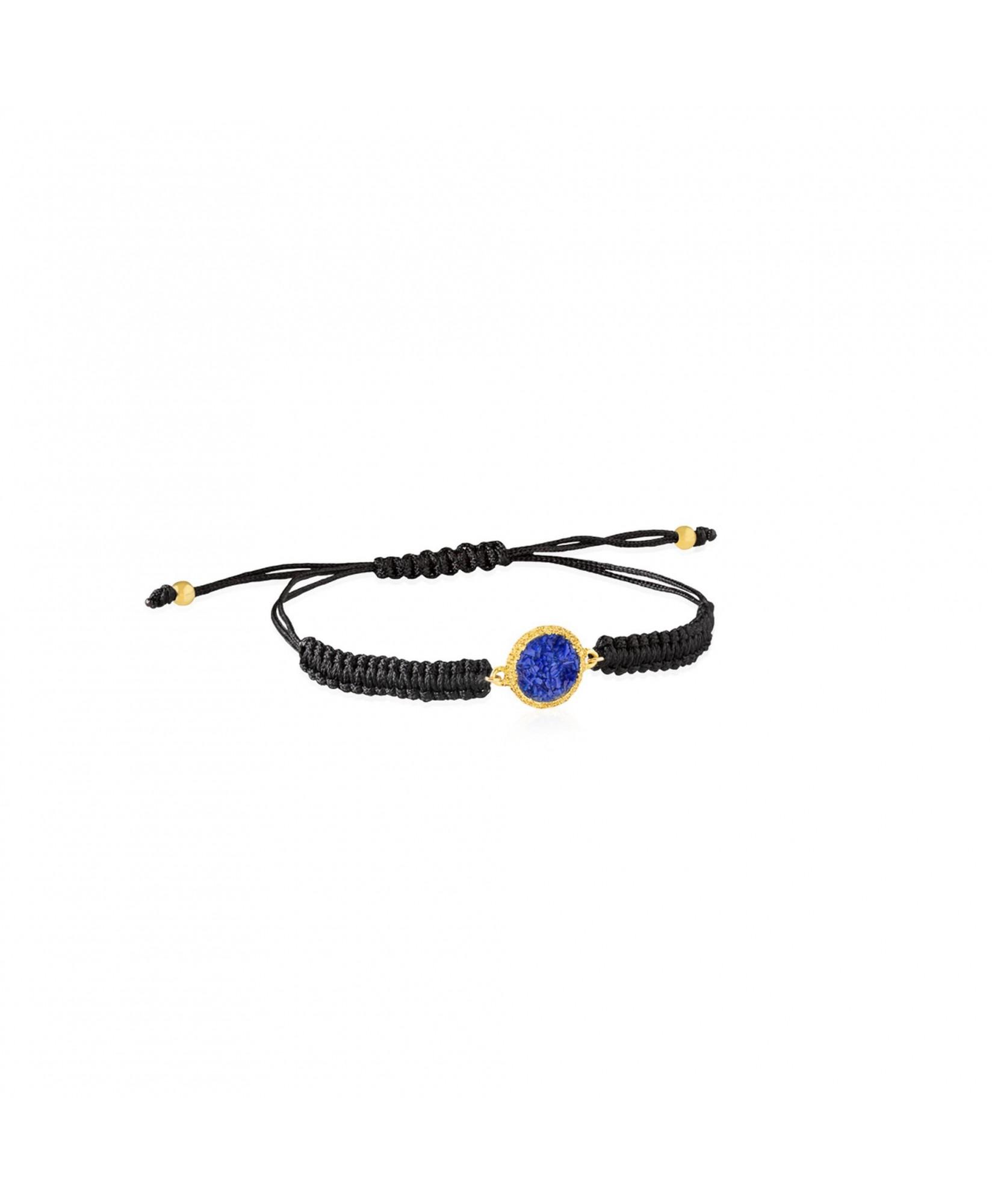Pulsera de cordón y oro Klein con nácar azul Pulsera de cordón y oro Klein con nácar azul