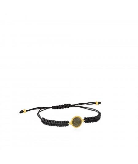 Pulsera de cordón y oro Shadow con nácar gris