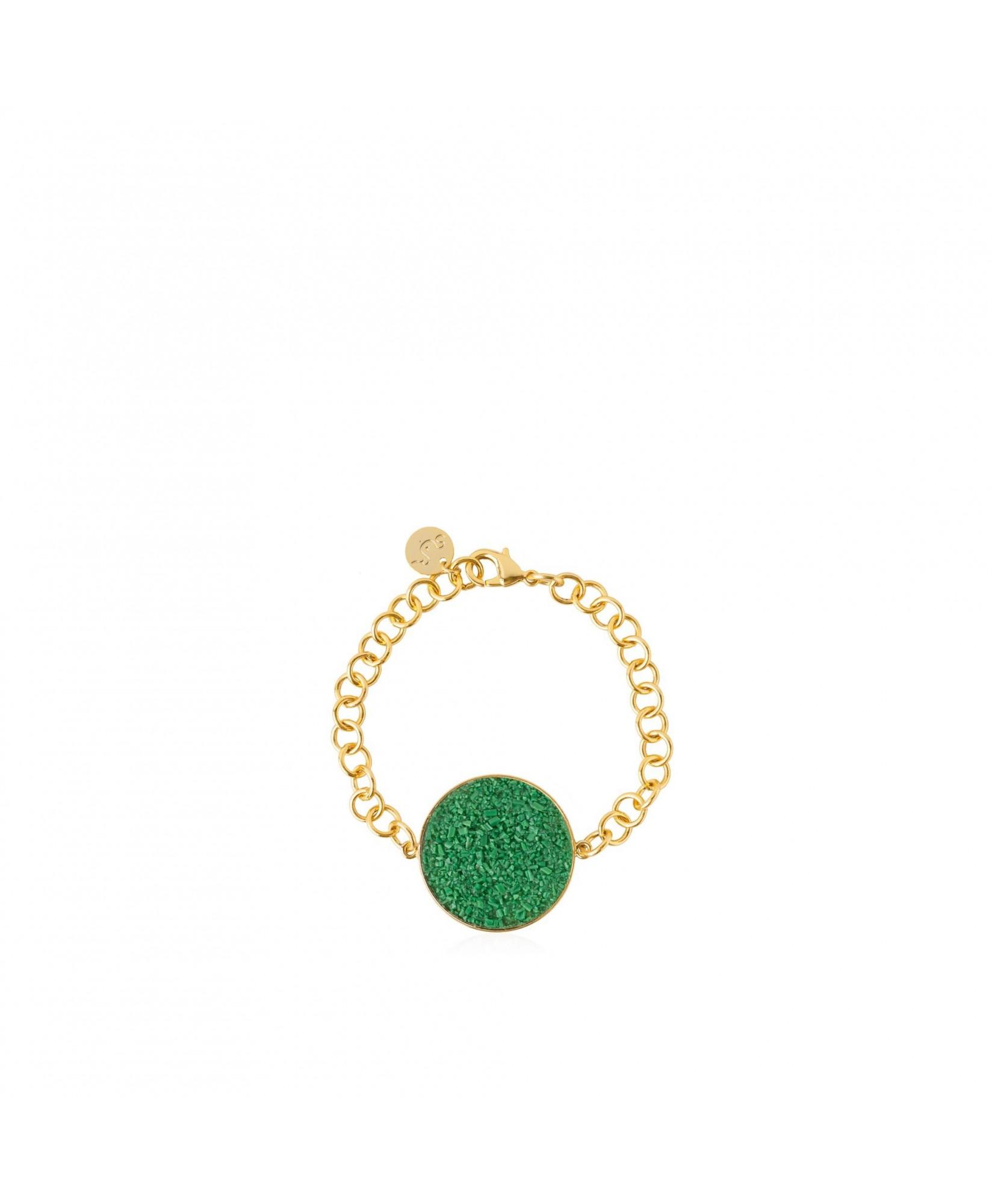Pulsera oro Demeter con nácar verde Pulsera oro Demeter con nácar verde