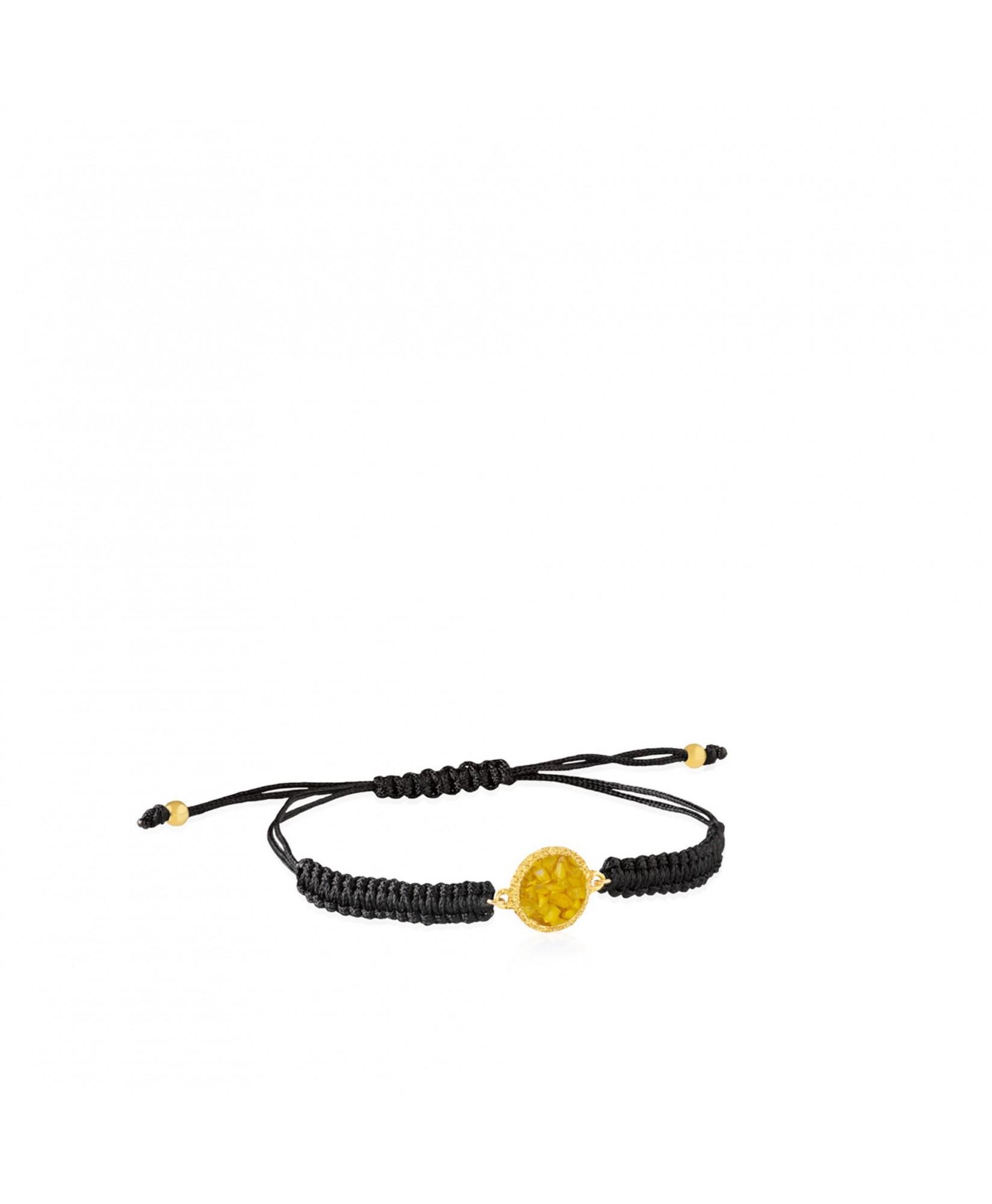 Pulsera de cordón y oro Sun con nácar amarillo Pulsera de cordón y oro Sun con nácar amarillo
