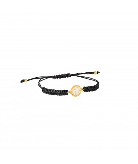Pulsera oro y cordón Pearl con nácar blanco