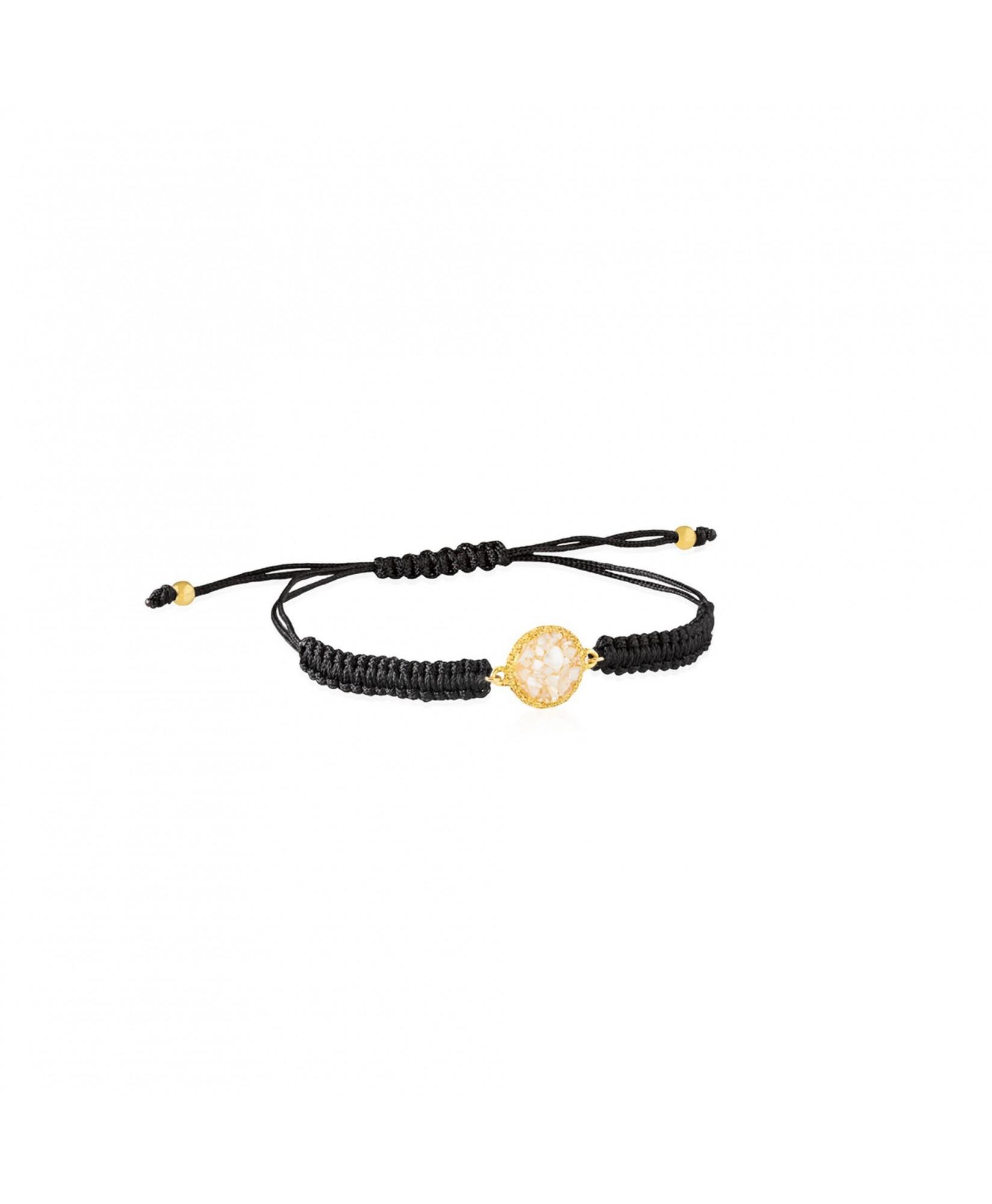 Pulsera oro y cordón Pearl con nácar blanco Pulsera oro y cordón Pearl con nácar blanco