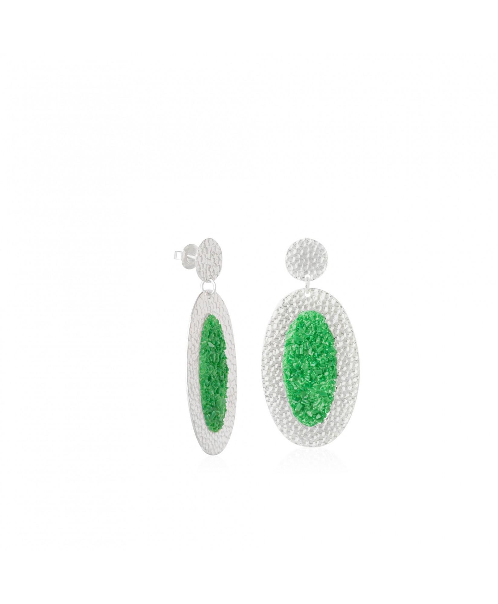 Pendientes de plata ovalados Demeter con nácar verde Pendientes de plata ovalados Demeter con nácar verde