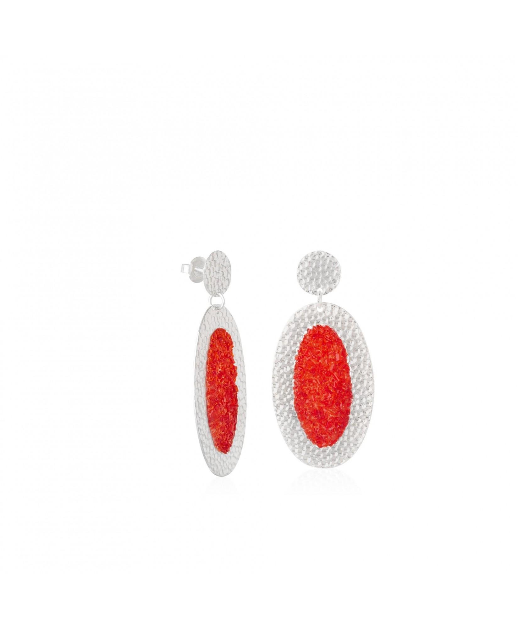 Pendientes de plata ovalados Estia con nácar rojo