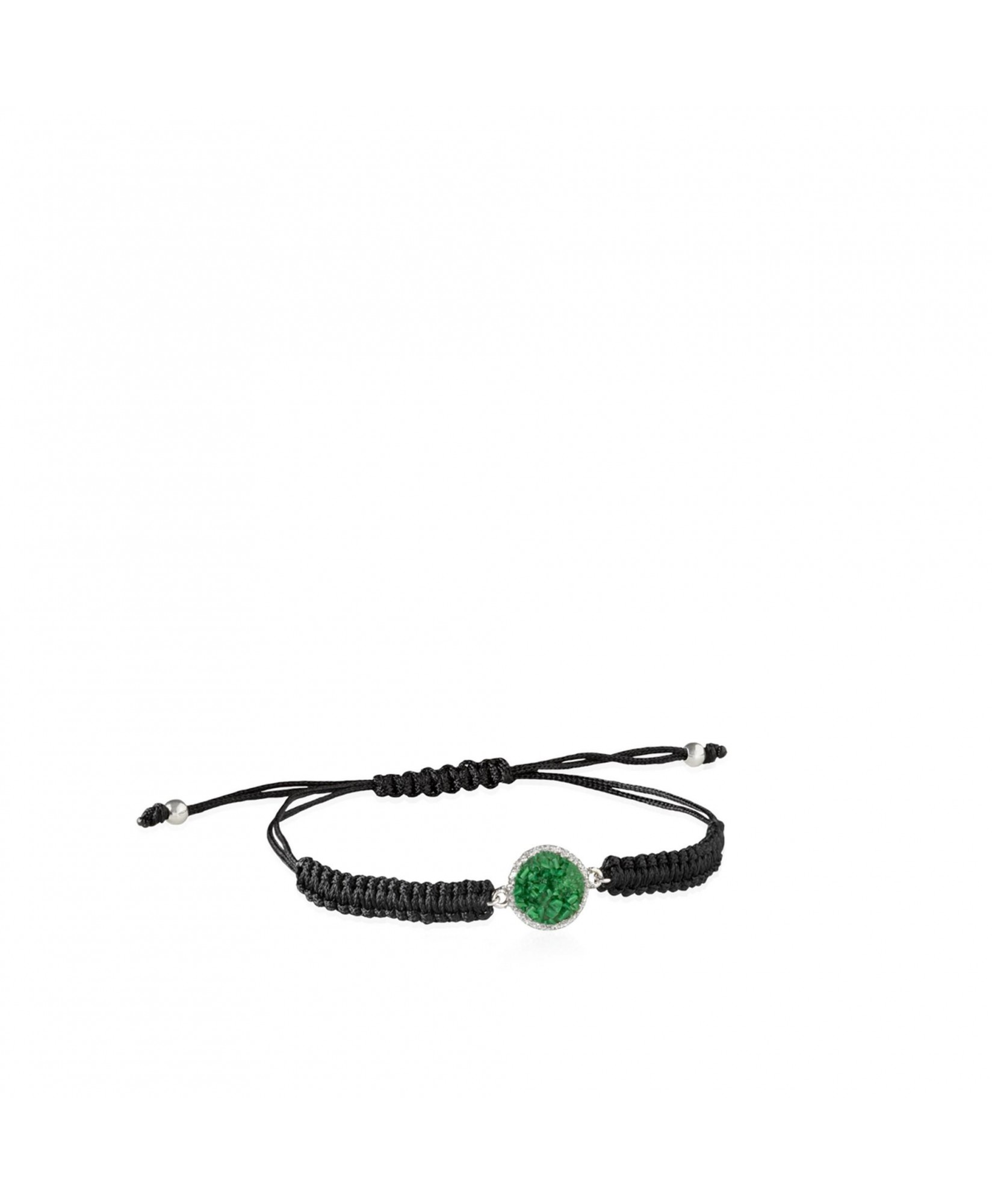 Pulsera de cordón y plata Grass con nácar verde