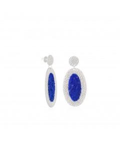 Pendientes de plata ovalados Selene con nácar azul