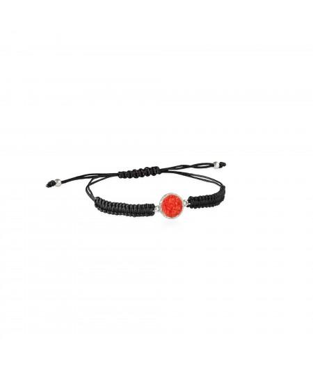Pulsera de cordón y plata Love con nácar rojo