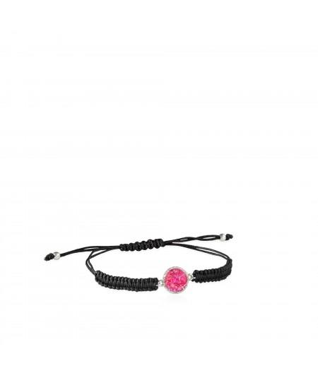 Pulsera de cordón y plata Doll con nácar rosa