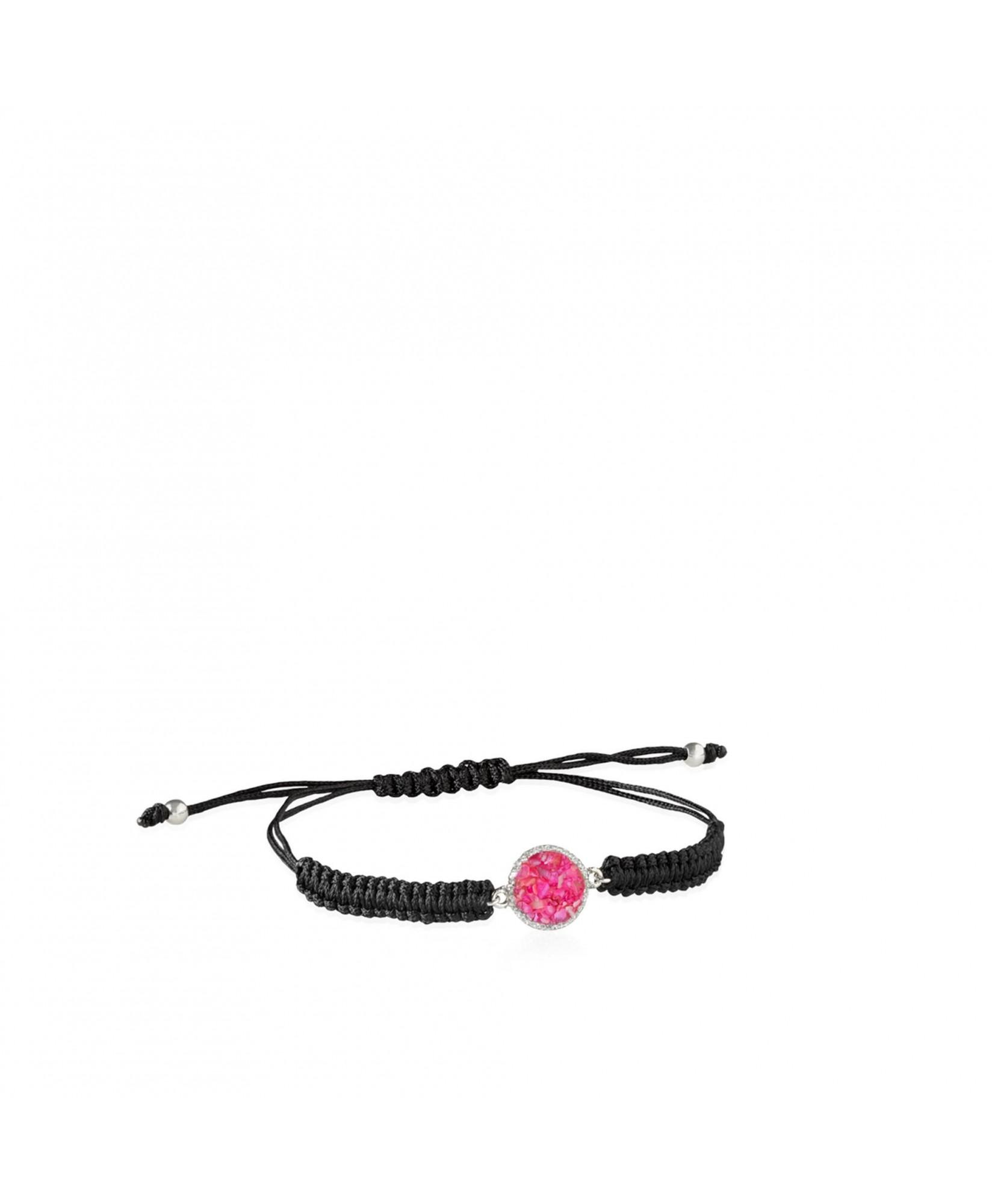 Pulsera de cordón y plata Doll con nácar rosa Pulsera de cordón y plata Doll con nácar rosa