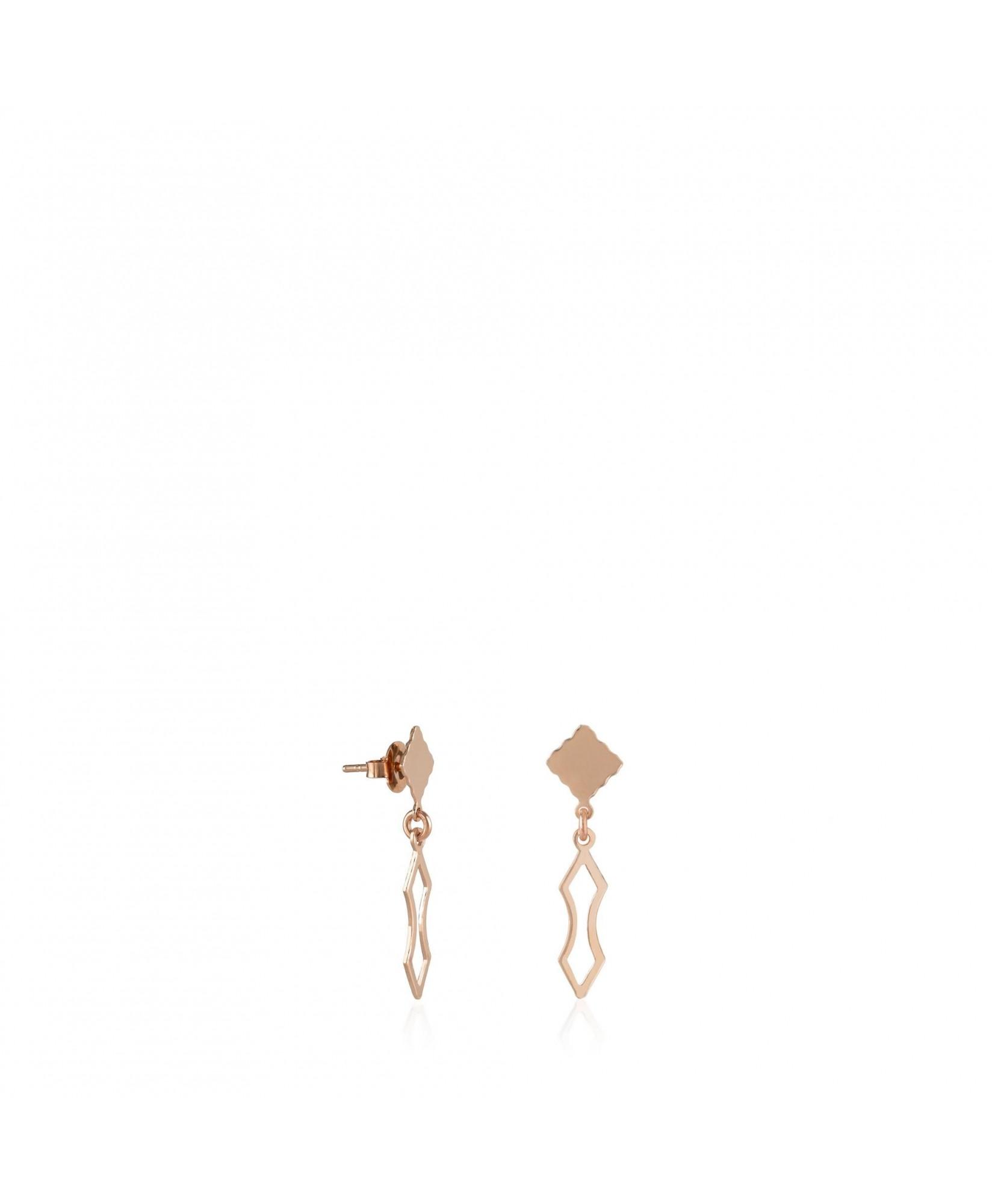 Pendientes largos oro rosa Fuego con forma de lanza Pendientes largos oro rosa Fuego con forma de lanza