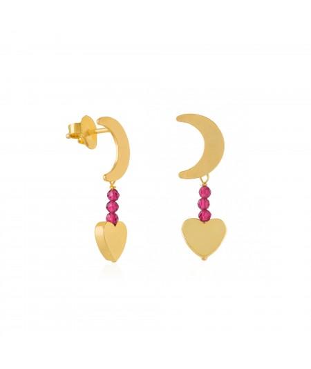 Pendientes oro Luna con corazón colgante y circonitas fucsias