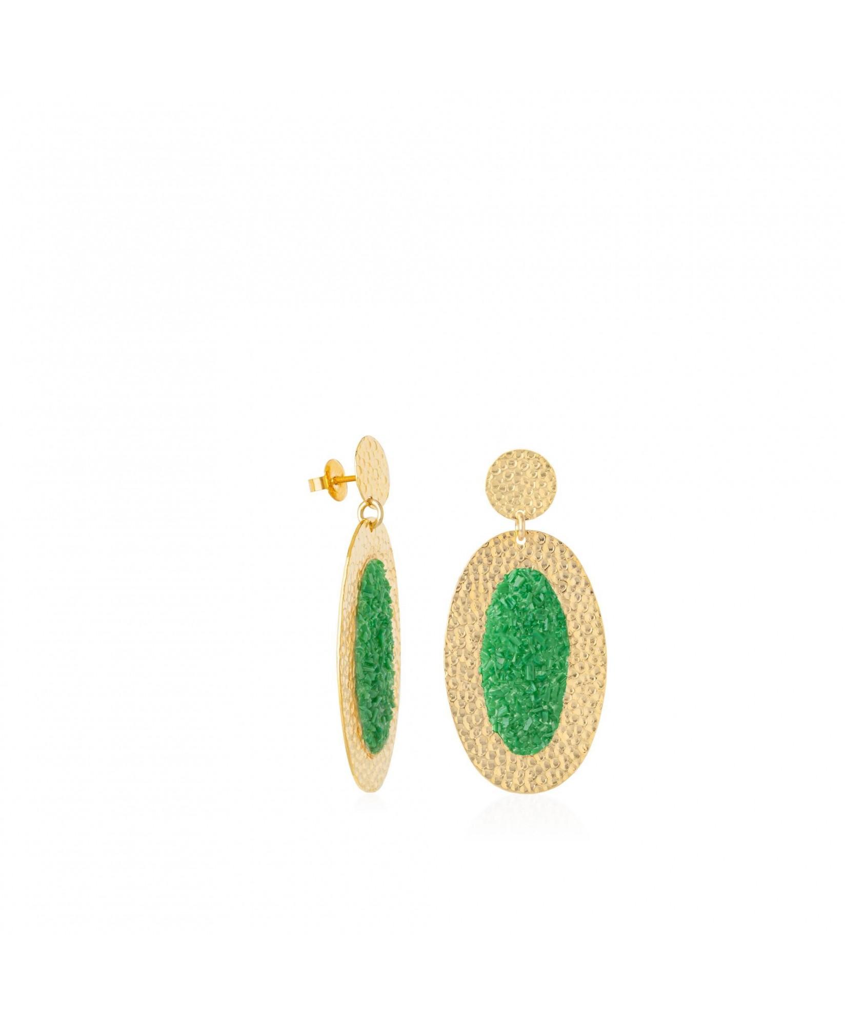 Pendientes oro ovalados Demeter con nácar verde Pendientes oro ovalados Demeter con nácar verde