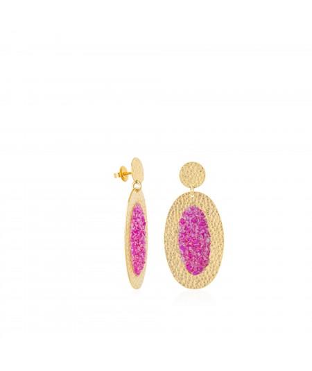 Pendientes oro ovalados Flora con nácar fucsia