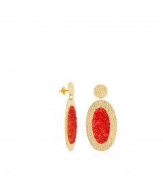 Pendientes oro ovalados Estia con nácar rojo