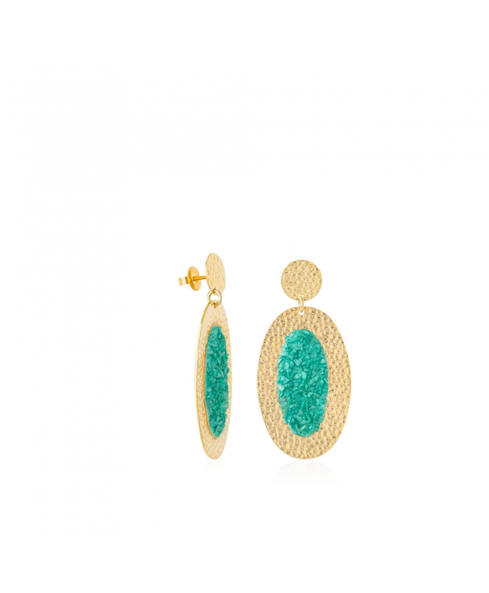 Pendientes ovalados oro Anais con piedra turquesa Pendientes ovalados oro Anais con piedra turquesa