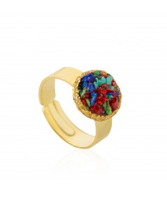 Anillo oro Rainbow con nácar multicolor