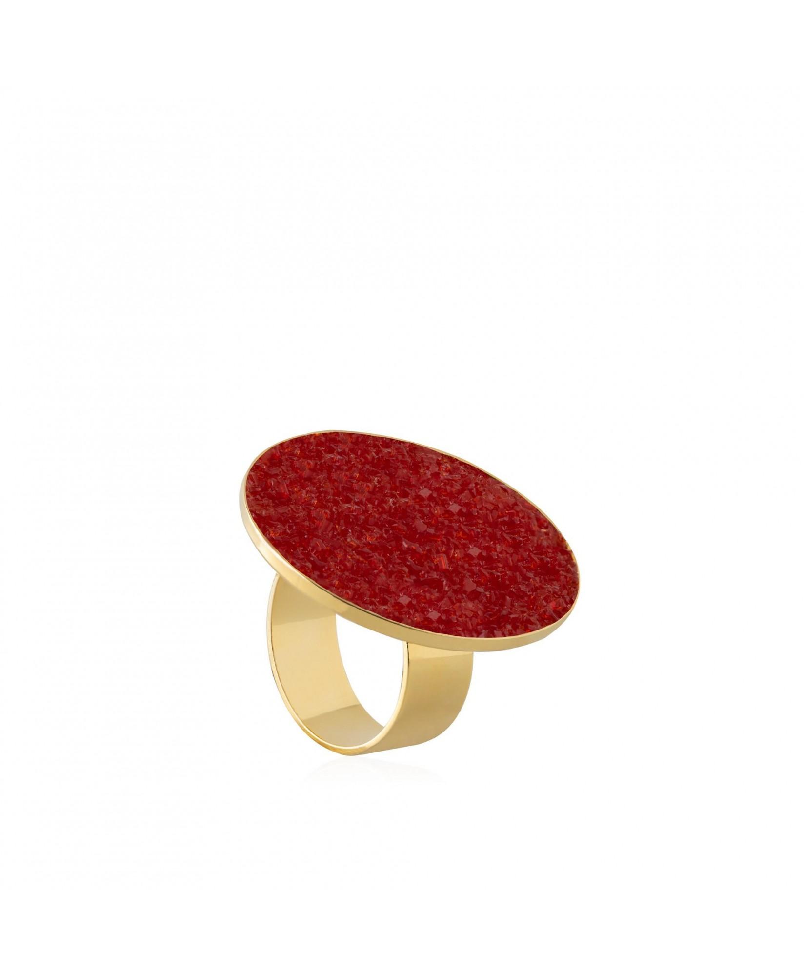 Anillo oro Estia con nácar rojo Anillo oro Estia con nácar rojo