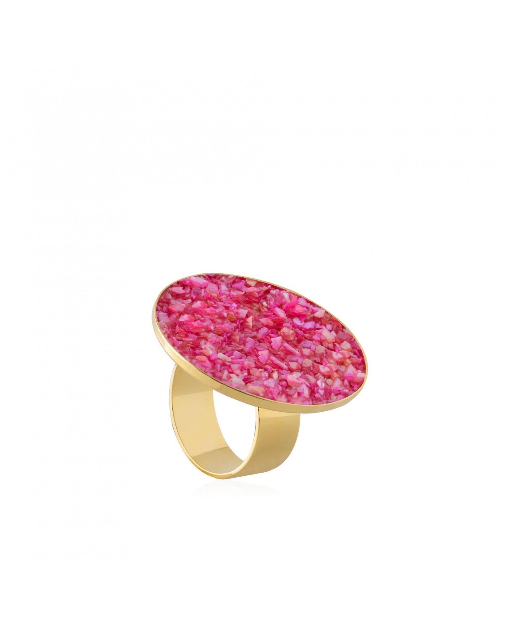 Anillo oro Isis con nácar rosa Anillo oro Isis con nácar rosa