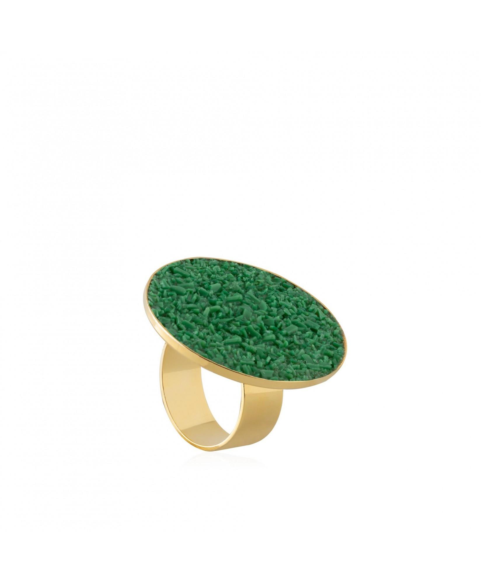 Anillo oro Demeter con nácar verde Anillo oro Demeter con nácar verde