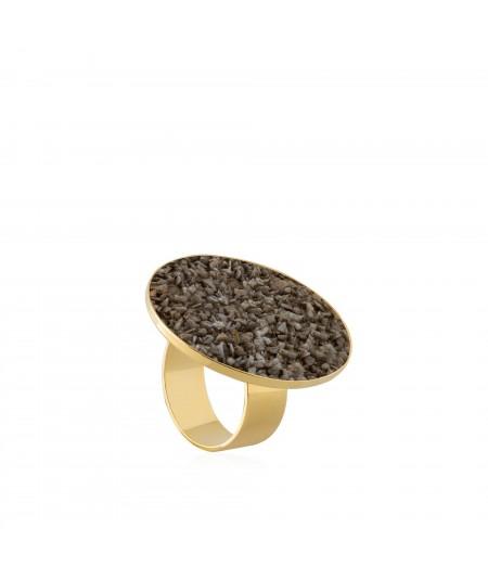 Anillo oro Gea con nácar marrón