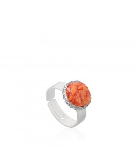Anillo plata Reef con nácar color coral