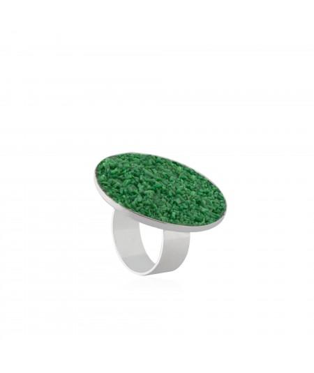 Anillo en plata Demeter con nácar verde