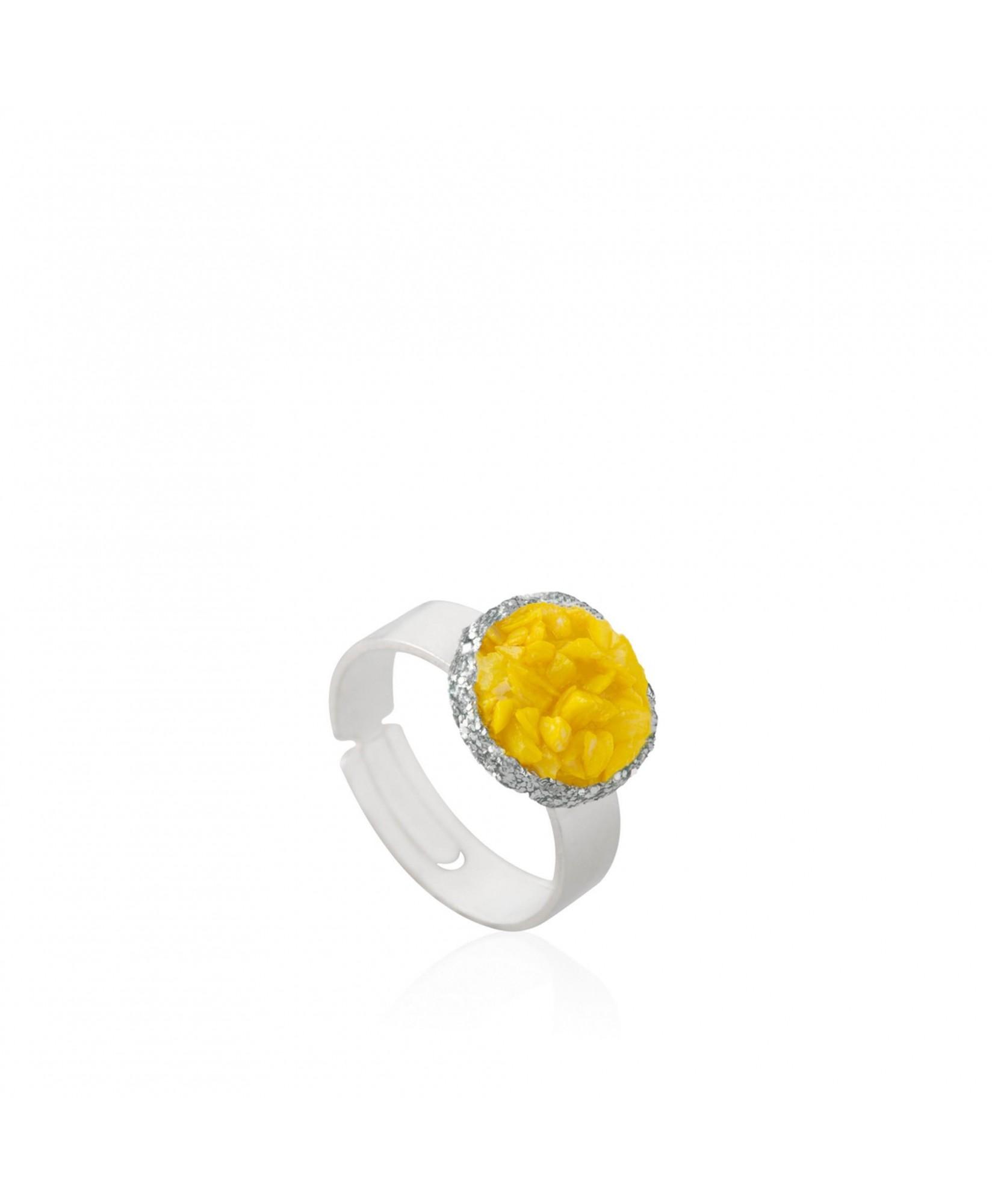 Anillo plata Sun con nácar amarillo Anillo plata Sun con nácar amarillo