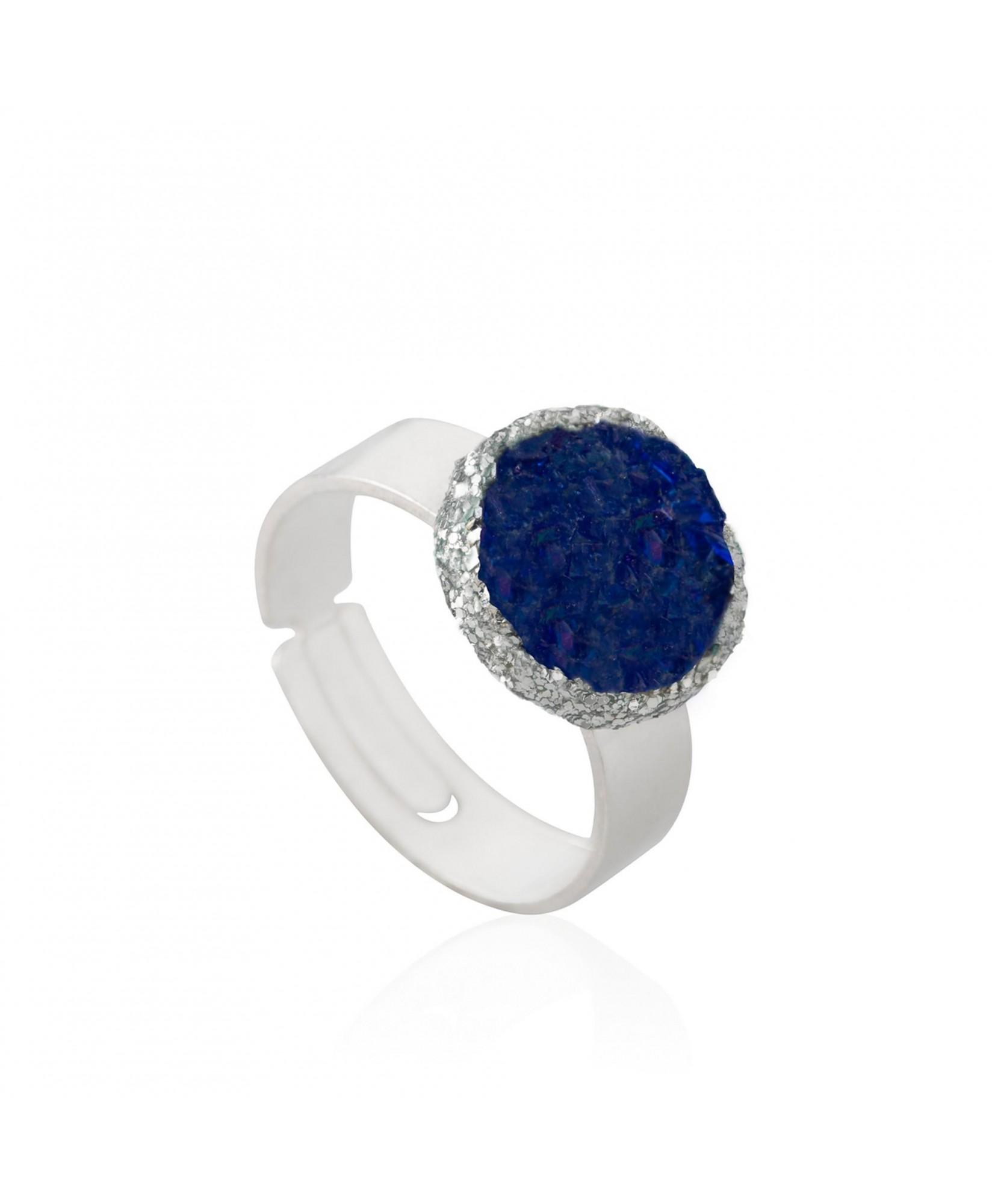 Anillo de plata Klein con nácar azul