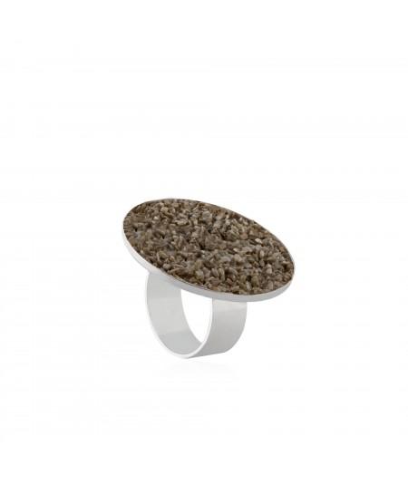 Anillo de plata Gea con nácar marrón
